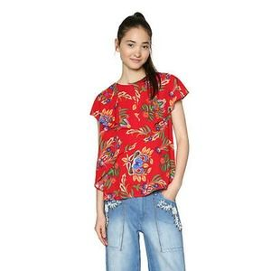 Desigual Red Floral Ruffle Unstructured Top M NWT